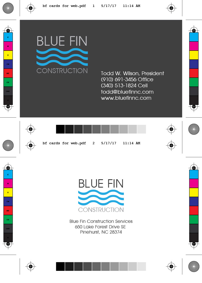 Blue Fin Construction Services Business Cards & Logo