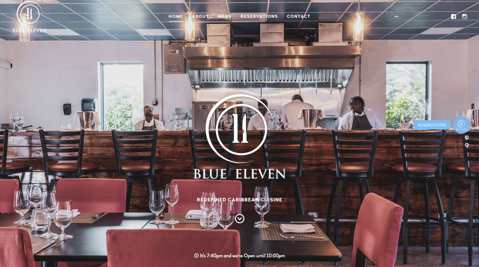 Blue 11 Restaurant Website