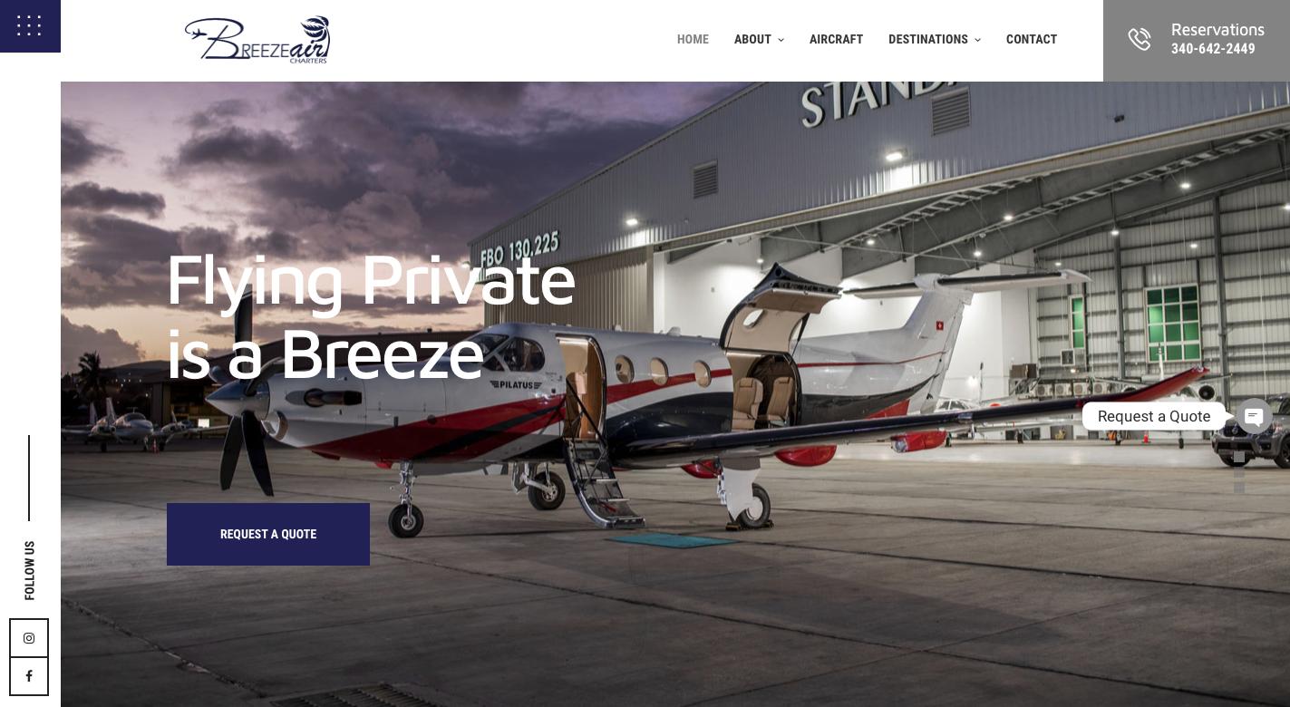 Breeze Air Charters Website